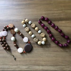 Boho Bundle of 3 Wooden Bead Necklaces
